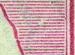 Two shading lines at right below A of LIA broken giving appearance of a short white flaw sloping up to right, 7mm down, 2mm in