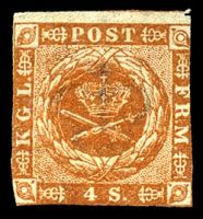 Lot 3665:1854 New Currency SG #10a 4s orange-brown type II, 3 touching margins, Cat £350.