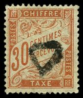 Lot 21834:1893-96 New Colours SG #D303 30c vermilion, Cat £110, minor crease.