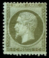 Lot 3481:1862-70 Napoleon III Perf 14x13½ SG #102 1c olive-green on bluish, Cat £32, some paper adhesion on back.