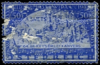 Lot 41:Austria: enlarged perforated label based on 1933 WIPA stamps in blue, used as advertising for A. Smets, unfortunately quite faulty.