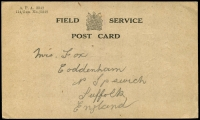 Lot 22688 [1 of 2]:WWI Field Service Post Card to UK, uncancelled.