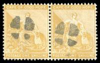 Lot 20623:Cork: white cross in 12mm circle on 1/- yellow-ochre pair.