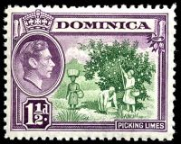 Lot 21601:1938-47 Pictorials 1½d green & purple, SG #101 with Re-entry on 'DOMINICA'.