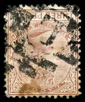 Lot 24889:L: in bars of Lagos (#K1 - recorded used between 1877 and 1879 only) on stained 3d red-brown, SG 3, Cat £42.