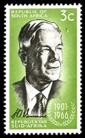 Lot 25402:1966 Verwoerd Commemoration 3c blackish brown & yellow-green, SG #267 with Dice flaw near forehead.