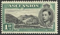 Lot 19496:1938-53 Pictorials SG #39 P13½ 1d black & green, Cat £40, minor thin.