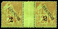 Lot 27559:1891 Surcharges '2' on 20c red/green interpanneu pair, one unit is SG 31 (missing TL perf) and the other is SG 33.