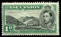Lot 3644:1938-53 Pictorials SG #39 P13½ 1d black & green, Cat £40, minor thin.