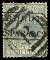 Lot 20274:B: of Galle on 1872 4c grey, over-struck with boxed '[FORW]ARDED/[B]Y/[?]