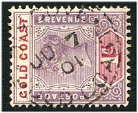 Lot 4118:Dixcove: light 'DIXCOVE/JU7/1901/GOLD COAST' on QV 1d. [Rated 80 by Proud]