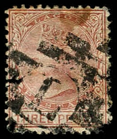 Lot 22024:L: in bars of Lagos (#K1 - recorded used between 1877 and 1879 only) on stained 3d red-brown, SG 3, Cat £42.
