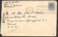 Lot 3687:1943 use of 3d Landfall to USA, cancelled with Nassau machine, 'P.C.90/OPENED BY EXAMINER/IG/5832' label.