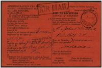 Lot 17810:1954 use of black/red Avis de Réception card with boxed 'AIR MAIL' handstamp applied, locally used at Nassau, usual faults from being stapled to original article.