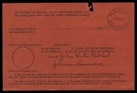 Lot 3529 [2 of 2]:1954 use of black/red Avis de Réception card with boxed 'AIR MAIL' handstamp applied, locally used at Nassau, usual faults from being staples to original article.