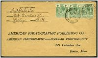 Lot 18172:1916 use of 1c blue-green strip of 3 (SG 101) on cover to USA, cancelled at Belize.