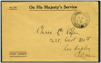 Lot 21619:1938 use of stampless OHMS cover to USA, cancelled at Roseau.