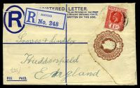 Lot 3839 [1 of 2]:1924 HG #C11 3d brown embossed on cream size F Imprint T2, illegible Abosso cancel, Liverpool backstamp of 20OC23.