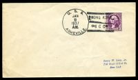 Lot 4764:1937 use of 3c Washington cancelled with 'U.S.S./JAN/8/1937/A.M./ASHEVILLE - HONG KONG/B C C' (B1), on plain addressed cover.