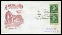 Lot 4766:1940 use of 1c Longfellow pair cancelled with 'U.S.S./JUL4/1940/A.M./ASHEVILLE - HONG KONG/B,C,C.' (B1), on illustrated Asiatic Fleet cover.