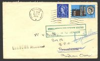Lot 20839:1966 use of 1d ultramarine & 3d Westminster Abbey on cover to Seychelles, cancelled at Glasgow on 6APR/1966, '[VI]CTORIA/B/AU29/66/SEYCHELLES' (A3) backstamp, boxed green 'UNDELIVERED FOR REASON STATED/RETUR