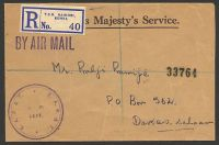 Lot 25077 [1 of 2]:1954 use of stampless registered OHMS air cover to Dar-es-Salaam, cancelled with double-circle 'TEMPLE RD.B.O./5-PM/16SP/54/NAIROBI' (A1).