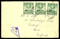Lot 4393:1940 use of ½d green KGVI x3 on cover to UK, cancelled at Valletta on MY23/40, violet triangular 'No. 33/[PAS]