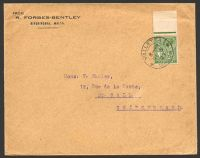 Lot 25679:1927 use of KGV ½d green on cover to Switzerland, cancelled at Valletta on DE5/27.