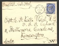 "Lot 3953:1888 use of 2½d blue on cover to UK ""via Italy"", cancelled with 'MALTA/G/JY23/88 - A25' (B1)."