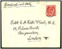 Lot 25686:Notabile: 'NOTABILE/E/JU17/07' on KEVII 1d red on cover to UK.