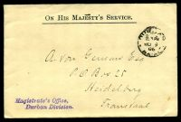Lot 25909 [1 of 2]:1906 use of stampless OHMS cover from Durban Magistrate's Office, cancelled on JU9/06.