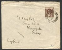 Lot 4257:1933 use of 2d chocolate KGV Die I on cover to UK, cancelled with double-circle 'MAIDUGERI/1MY/33/NIGERIA' (B1), double-circle 'JOS/3.45PM/3MY/33/[NIG]