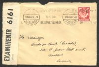 Lot 26940:1941 use of KGVI 2d carmine-red on cover to Canada, cancelled with Kitwe machine on 17MAR41, 'P.C. 90/OPENED BY/EXAMINER 6161' label attached.