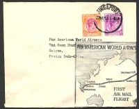 Lot 28065:1953 Pan Am first flight from Singapore to San Francisco, intermediate cover to Saigon, 'SAIGON R.P/13.00/28-5/1953/VIETNAM' machine arrival.
