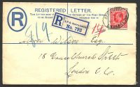 Lot 4612:1902 HG #C2a 2d blue size g, cancelled on 11JU10, flap sealed with selvedge.