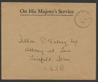 Lot 27695:1949 use of stampless OHMS cover to USA, cancelled with ST. KITTS/*/12AP/49' (B1).