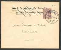 Lot 28393:1922 use of South Africa 2d on local cover, cancelled with double-circle 'WINDHOEK/2MAR22/1215PM/S.W.A' (A1).