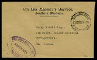 Lot 4679:1933 use of stampless OHMS cover to USA, cancelled with 'SALISBURY/23FEB19334-PM/S.RH[OD]ESIA' (B2), violet triple-oval 'DIST, POSTMASTER['S]