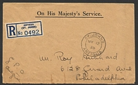 Lot 3219:1935 use of stampless OHMS registered cover to USA, cancelled with double-circle 'ST. JOHNS/MY12/35/ANTIGUA' (A1).