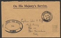 Lot 16587:1943 use of stampless OHMS registered cover to USA, cancelled with double-circle 'ST. JOHNS/A/MY8/43/ANTIGUA' (A1), triple-oval '[G]