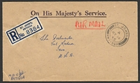 Lot 16588:1945 use of stampless OHMS registered airmail cover to USA, cancelled with double-circle 'ST. JOHNS/A/MY14/45/ANTIGUA' (A1).