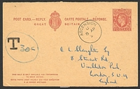 "Lot 3101:1950? use of reply half of GB KGVI 2d+2d lilac brown, HG #67, cancelled with 'ASCENSION/C/8AP5 ', 'T""30c""' on face, no message."
