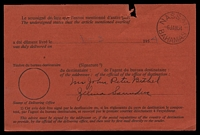 Lot 19282 [2 of 2]:1954 use of black/red Avis de Réception card with boxed 'AIR MAIL' handstamp applied, locally used at Nassau, usual faults from being staples to original article.