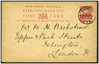 Lot 16982:1892-93 HG #9 1d carmine, cancelled with 'BARBADOS/6JA06 230PM