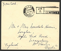 Lot 3144:Barbados: double-circle 'G.P.O./230PM/22NO/54/BARBADOS - T CENTIMES' (duplex?) on stampless cover to UK.