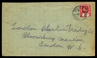 Lot 3787 [1 of 2]:1911 use of 2c carmine (SG #96) on cover to UK, cancelled at Belize, mild creasing to right edge.