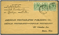 Lot 3788:1916 use of 1c blue-green strip of 3 (SG 101) on cover to USA, cancelled at Belize.