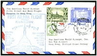 Lot 3601:1953 Pan Am first direct flight from Rangoon to HK, 1949 2a Bird & 3a6p Palace & 1953 25p map cancelled at Rangoon on 11SEP53.