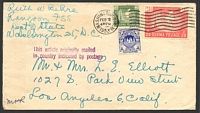 Lot 17409:1953 use of 1949 3p & 1953 14p & 20p map on consular cover to USA, unframed violet 'This article originally mailed/in country indicated by postage' on face.