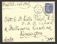 "Lot 24841:1888 use of 2½d blue on cover to UK ""via Italy"", cancelled with 'MALTA/G/JY23/88 - a25' (B1)."